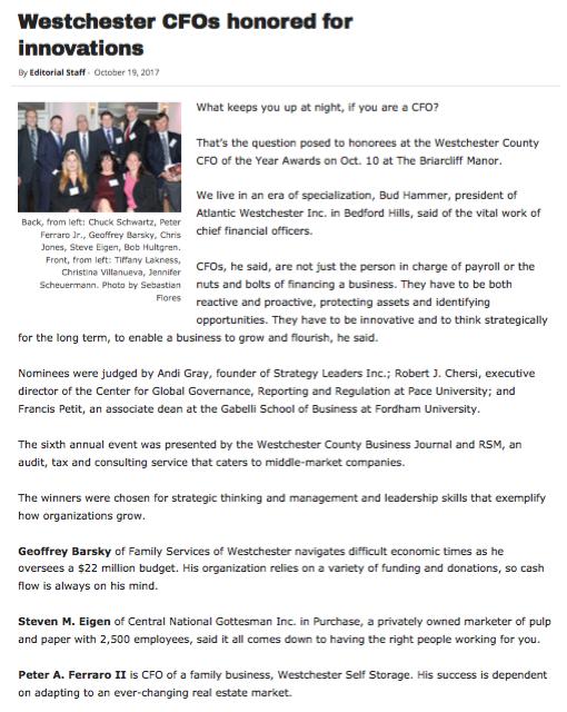 Westchester CFO honors Peter Ferraro II Screen shot of release