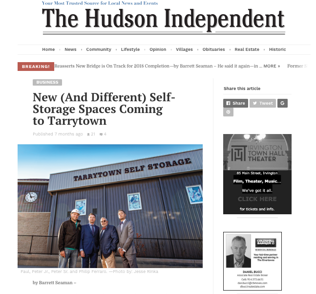 The Hudson Independent screen shot of new Tarrytown facility press release